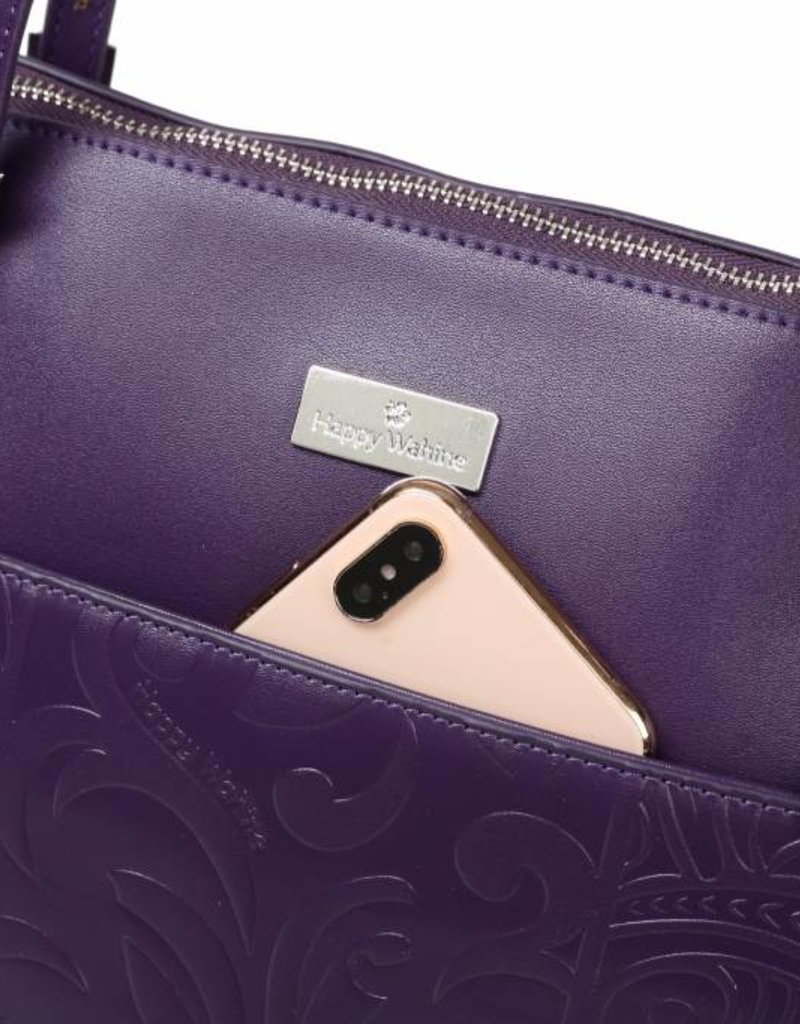 Tote Elizabeth Tapa Tiare Purple Embossed