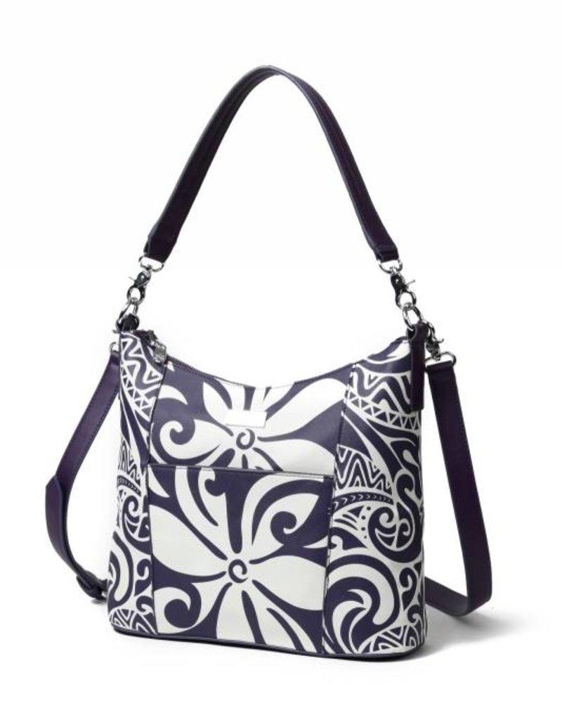 Happy Wahine Hobo Bag Sara Tapa Tiare Purple
