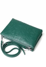 Happy Wahine Crossbody Marisa Tapa Tiare Warrior Green Embossed