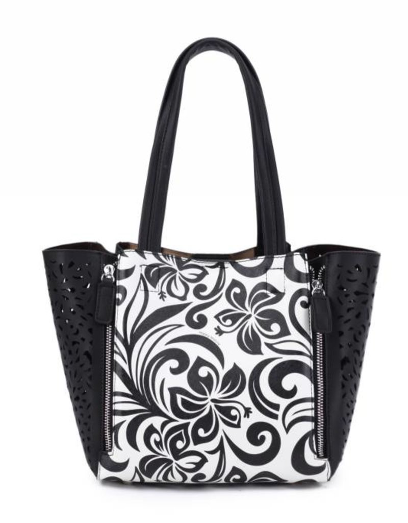 Happy Wahine Handbag Amy Hibiscus Black Large