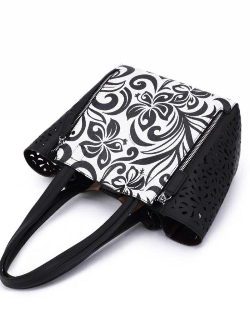 Handbag Amy Hibiscus Black Large