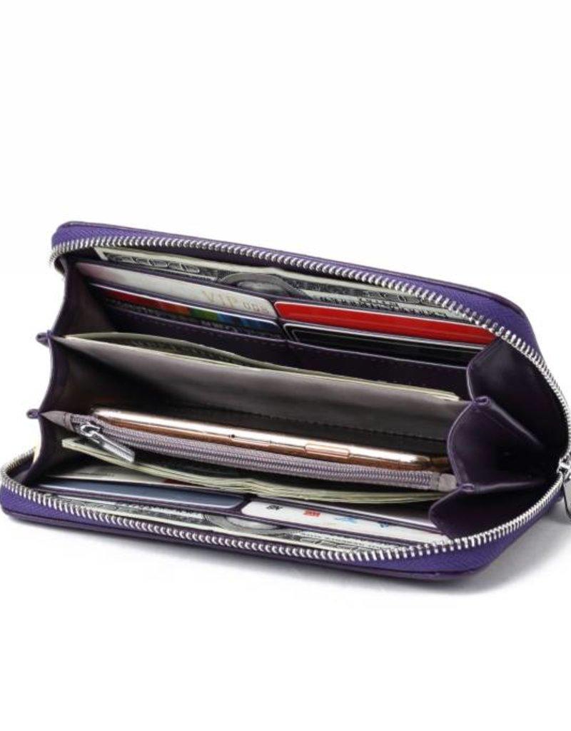 Happy Wahine Wallet Kaylee Tapa Tiare Purple Embossed