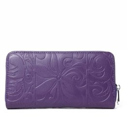 Happy Wahine Wallet Kaylee Tapa Tiare Purple Embossed