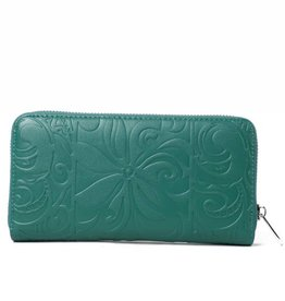 Happy Wahine Wallet Kaylee Tapa Tiare Warrior Green Embossed