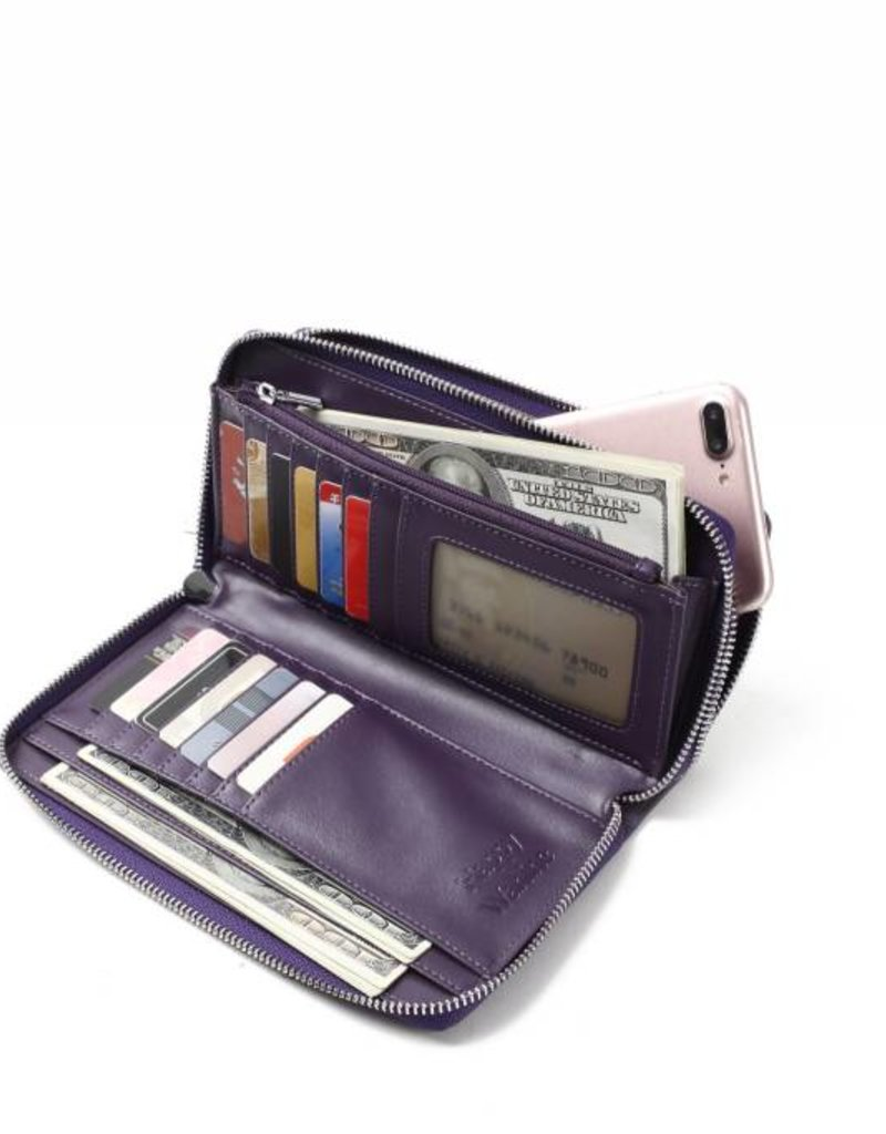 Happy Wahine Wallet Allison Tapa Tiare Purple Embossed