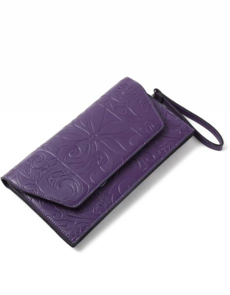 Clutch Victoria Tapa Tiare Purple Embossed