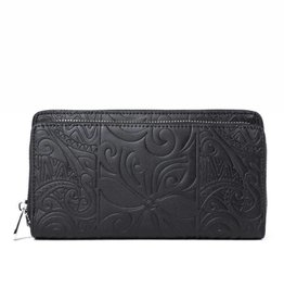 Happy Wahine Wallet Allison Tapa Tiare Black Embossed