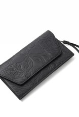Happy Wahine Clutch Victoria Tapa Tiare Black Embossed