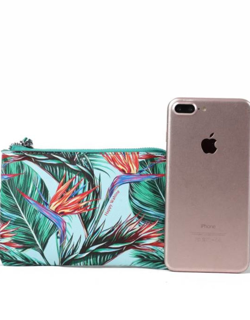 Happy Wahine Wristlet Judy Bird of Paradise Blue