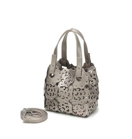 Handbag Pua Small Pewter Metallic