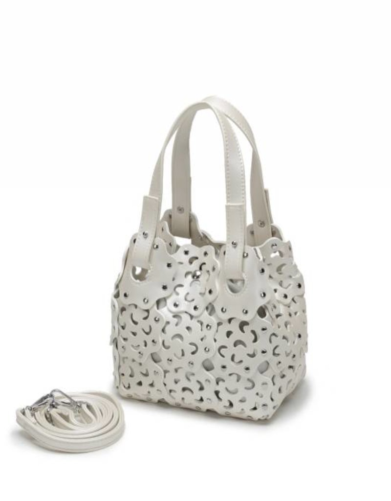 Handbag Pua Small Ivory Metallic