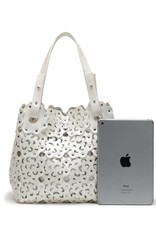 Handbag Pua Ivory Metallic