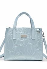 Happy Wahine Handbag Katelyn Monstera Orchid Embossed Blue Metallic