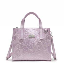 Happy Wahine Handbag Katelyn Hibiscus Embossed Pink Metallic