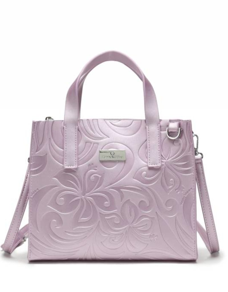 Handbag Katelyn Hibiscus Embossed Pink Metallic