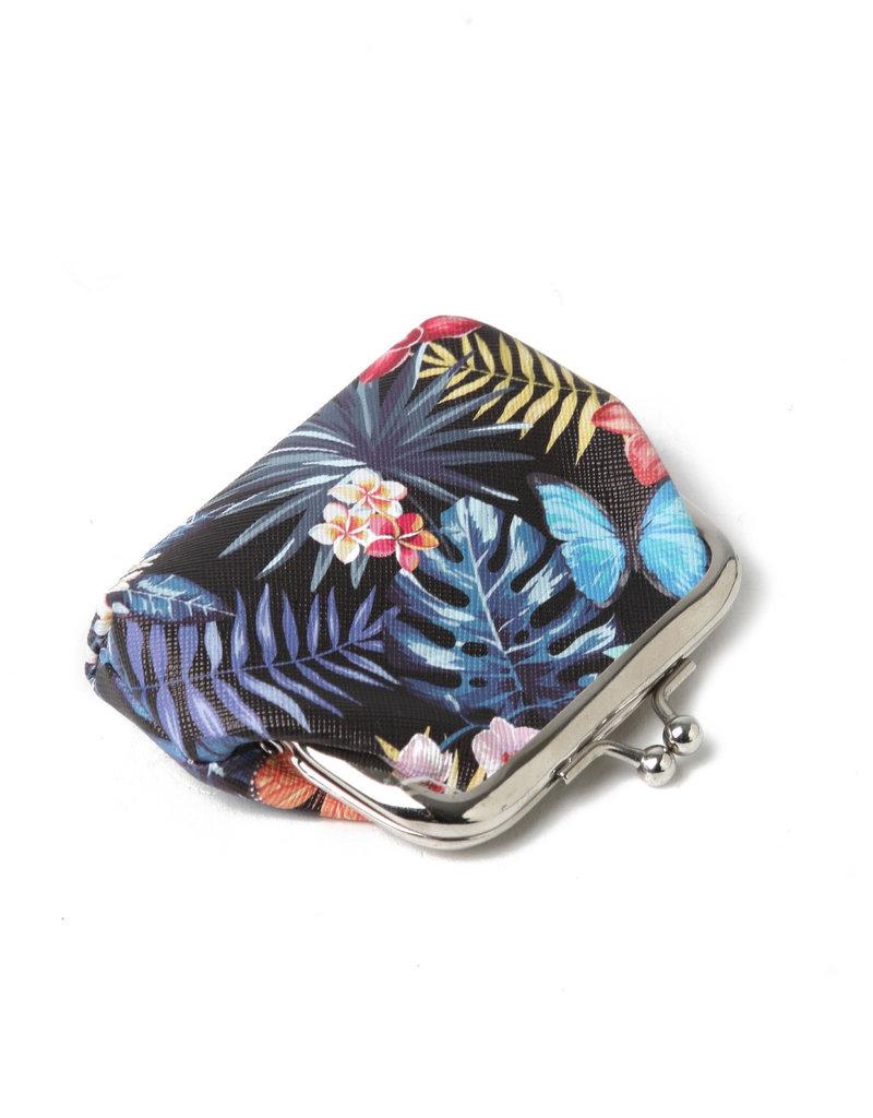 Everyday Hawaii EH Coin Purse Lrg Hibiscus Black