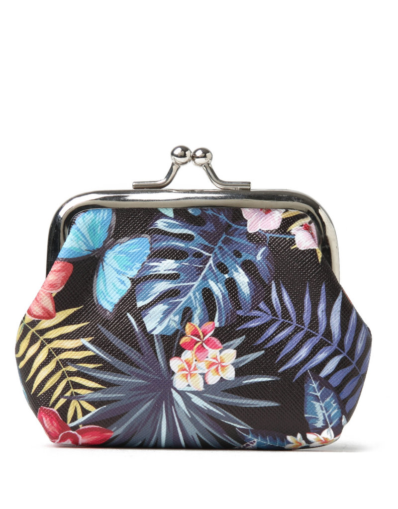 Everyday Hawaii EH Coin Purse Lrg Hibiscus Black