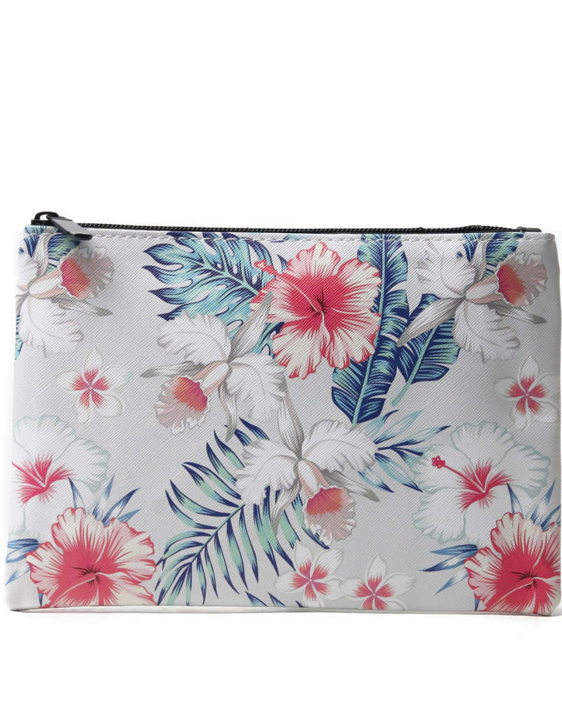 Everyday Hawaii EH Pouch Lrg Hibiscus Beige