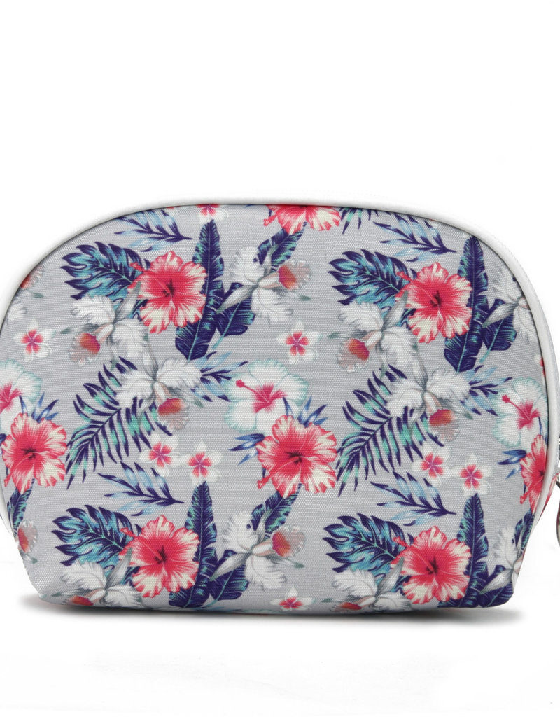 Everyday Hawaii EH Nylon Pouch Rnd Hibiscus Grey