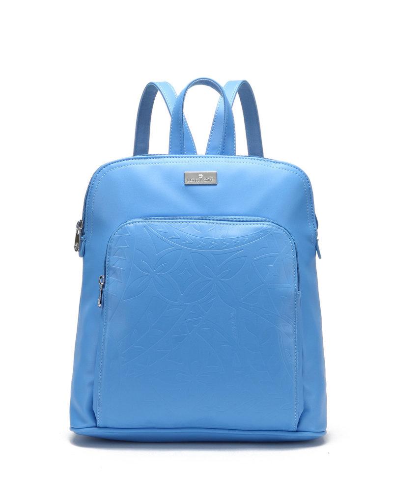 Happy Wahine Backpack Sasha Tapa Sky Blue Embossed