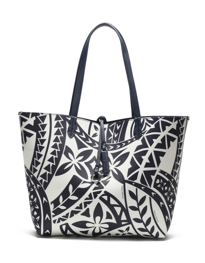 Happy Wahine Rev Tote Nancy Large Tapa Navy