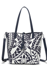 Happy Wahine Rev Tote Nancy Small Tapa Navy