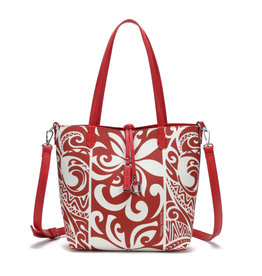 Happy Wahine Rev Tote Nancy Small Tapa Tiare Red