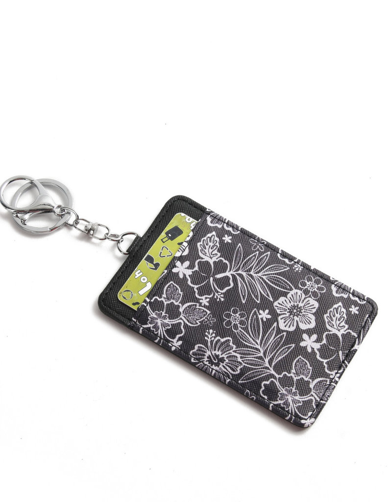 Happy Wahine Card Case April Hibiscus Blossom Black