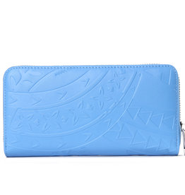 Happy Wahine Wallet Kaylee Tapa Embossed Sky Blue