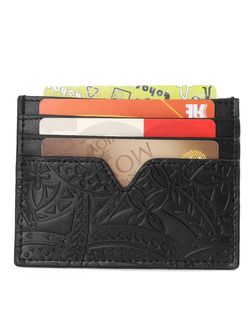 Happy Wahine Card Case Meilany Tapa Embossed Black