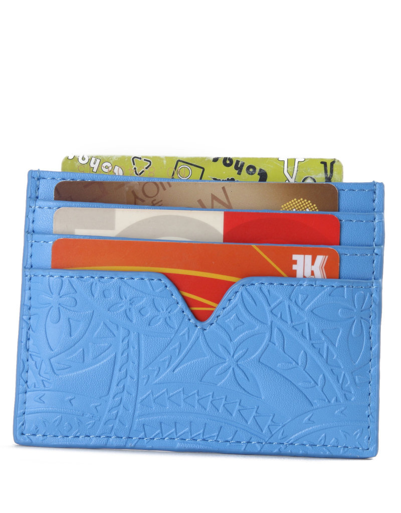 Happy Wahine Card Case Meilany Tapa Embossed Sky Blue