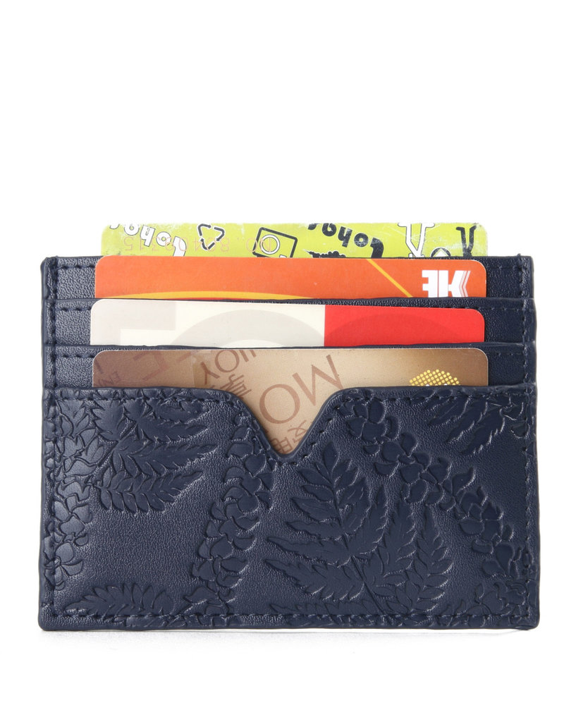 Happy Wahine Card Case Meilany Fern Lei Embossed Navy