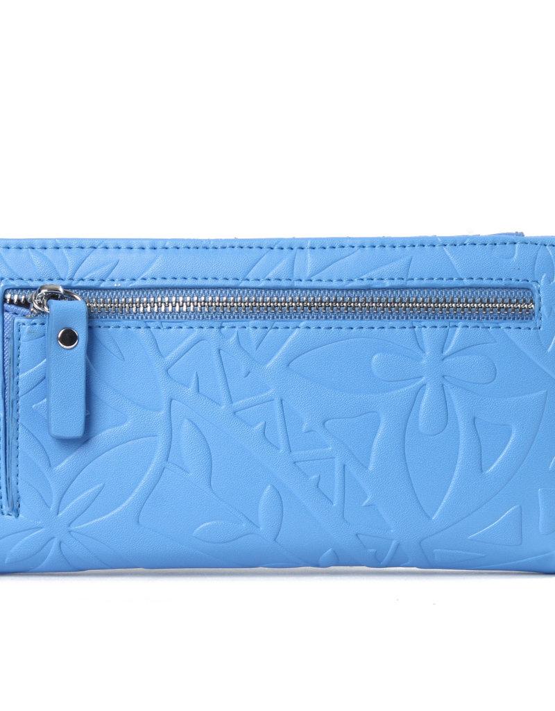 Happy Wahine Wallet Teyla Tapa Embossed Sky Blue