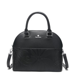 Happy Wahine Satchel Kristen Tapa Tiare Embossed Black