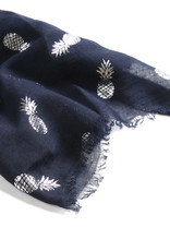 Everyday Hawaii Scarf Danielle Silver Pineapple Navy