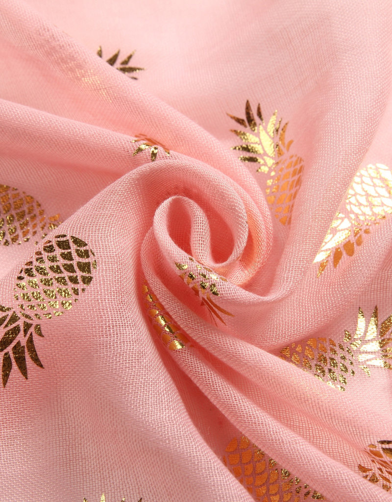 Everyday Hawaii Scarf Danielle Gold Pineapple Pink