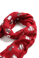 Everyday Hawaii Scarf Danielle Rose Silver Heart Red
