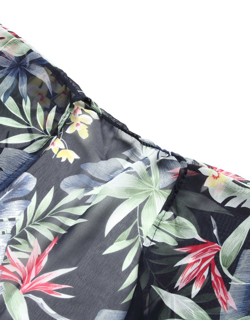 Everyday Hawaii Coverup Blue Green Leaves Black