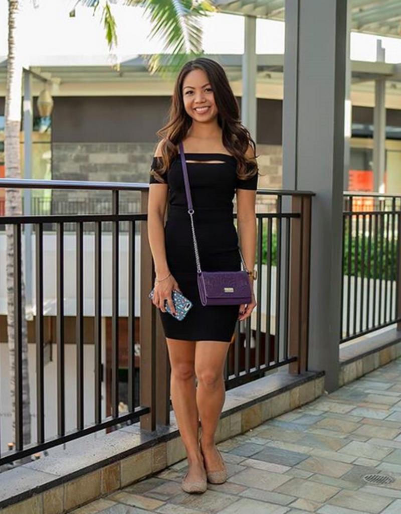 Happy Wahine Crossbody Amanda Tapa Tiare Purple Embossed