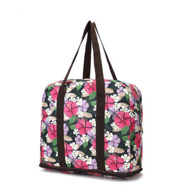 Everyday Hawaii Foldable Duffle Bag Sophie Hibiscus Black