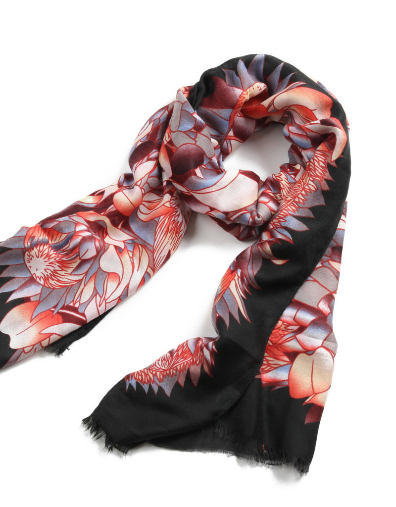 Everyday Hawaii Scarf Danielle Print Sunflower Black