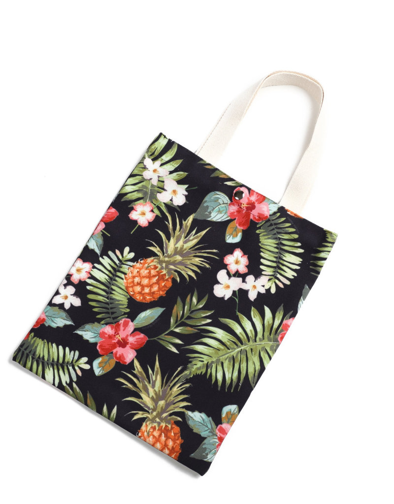 Everyday Hawaii EH Cotton Tote Sml Pineapple Black