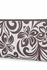 Happy Wahine Wallet Hibiscus RFID Slim Brown