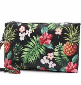 Happy Wahine Wristlet Melody Pineapple Vintage Black