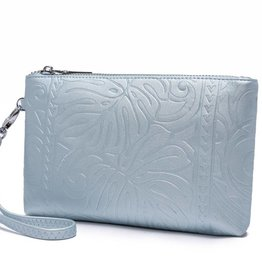 Happy Wahine Wristlet Melody Monstera Embossed Blue