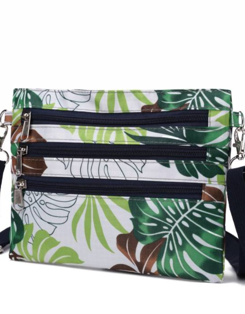 Happy Wahine Nylon Jonelle Crossbody Monstera White