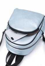 Happy Wahine Backpack Lucy Hibiscus Embossed Blue