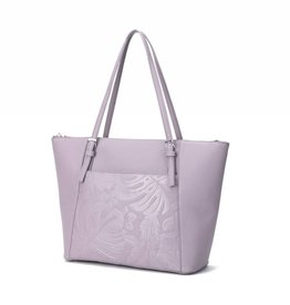 Happy Wahine Tote Elizabeth Monstera Orchid Light Purple
