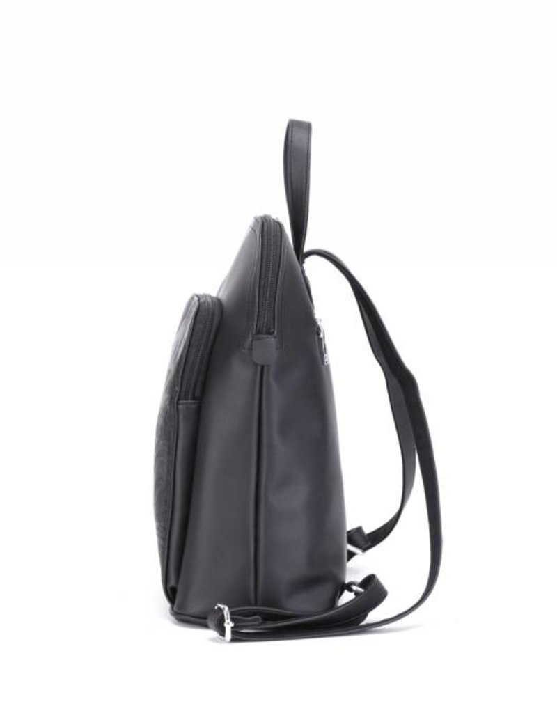 Happy Wahine Backpack Sasha Tapa Tiare Black Embossed
