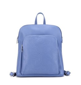 Happy Wahine Backpack Sasha Tapa Tiare Blue Embossed Metallic